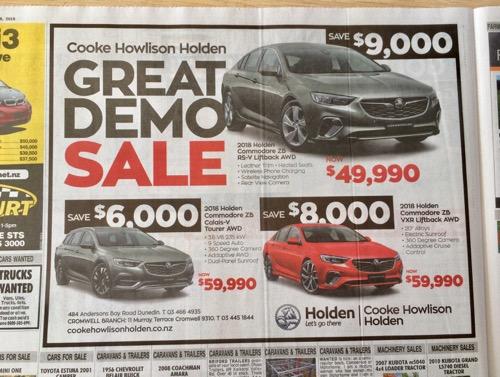 ダニーデン発行の新聞 オタゴデイリータイムス 車の広告