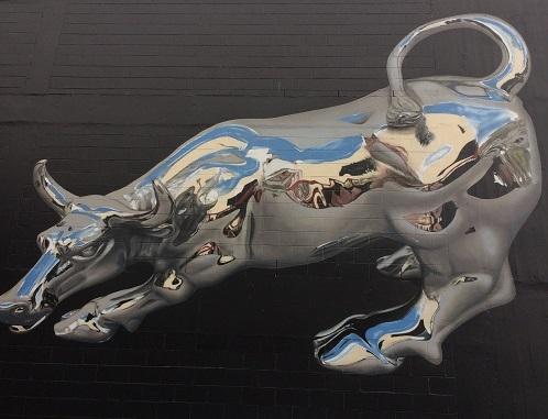 ダニーデンストリートアート3Dの牛