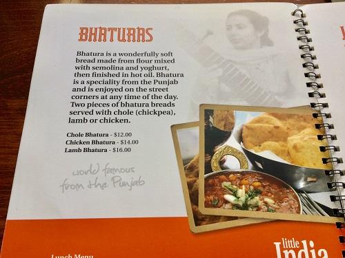ダニーデンのインド料理リトルインディア メニュー3