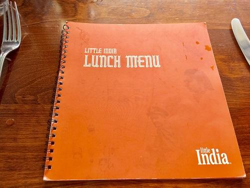 ダニーデンのインド料理リトルインディア ランチメニュー表紙