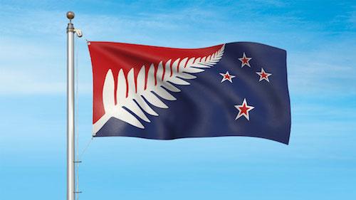 ニュージーランドの新国旗案候補 シルバーファーン (赤・白・青)