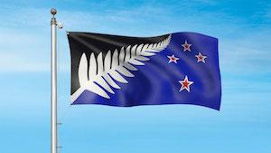 ニュージーランド新国旗最終候補 シルバーバーファーン (黒・白・青)