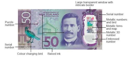 ニュージーランド50ドル札の表