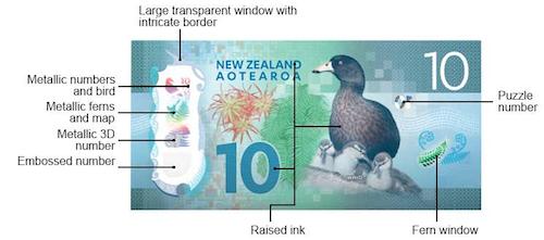 ニュージーランド10ドル札の裏