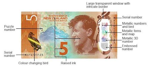ニュージーランド5ドル札の表