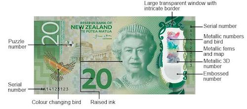 ニュージーランド20ドル札の表