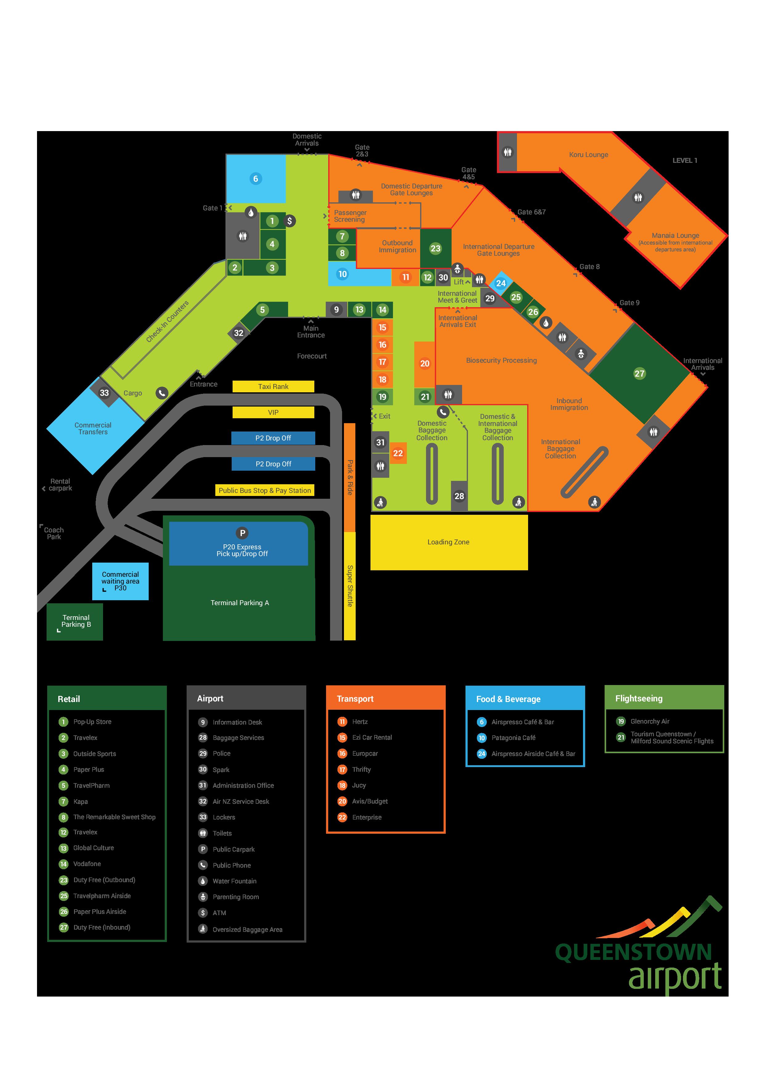 クイーンズタウン空港建物内部の地図