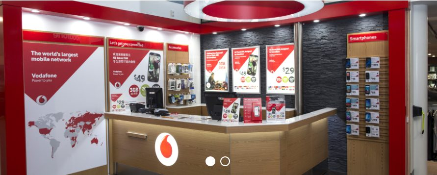 クイーンズタウン空港でsimカードが買えるVodafone Store