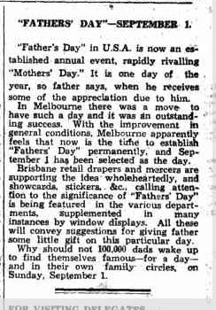 1935年オーストラリアで9月の1日に父の日を祝おうという記事