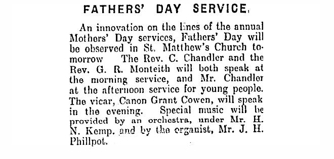 ニュージーランド父の日の始まりは1929年7月14日