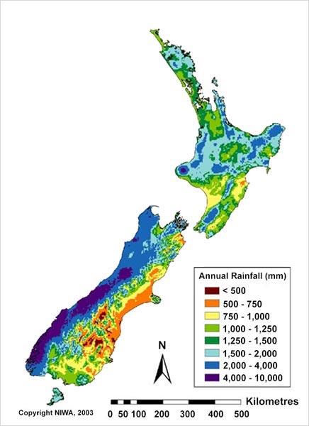 ニュージーランド1年の降雨量